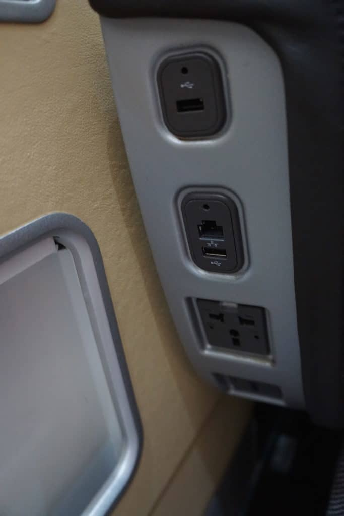 Two outlets and USB ports. www.travelingwellforless.com
