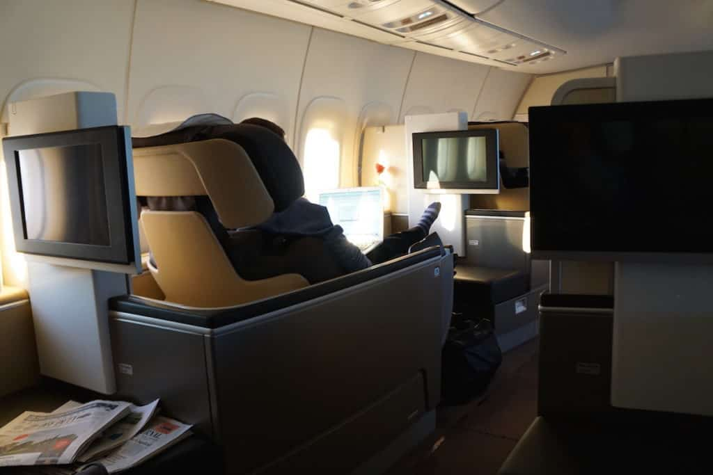 Seats 2A and 2K on the 747-8 in Lufthansa First Class have the most legroom and a bigger ottoman. http://www.travelingwellforless.com