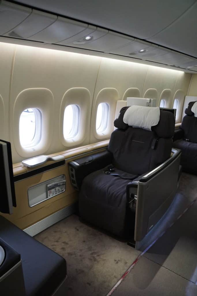 The best First Class seat on the 747-8 on Lufthansa. http://www.travelingwellforless.com