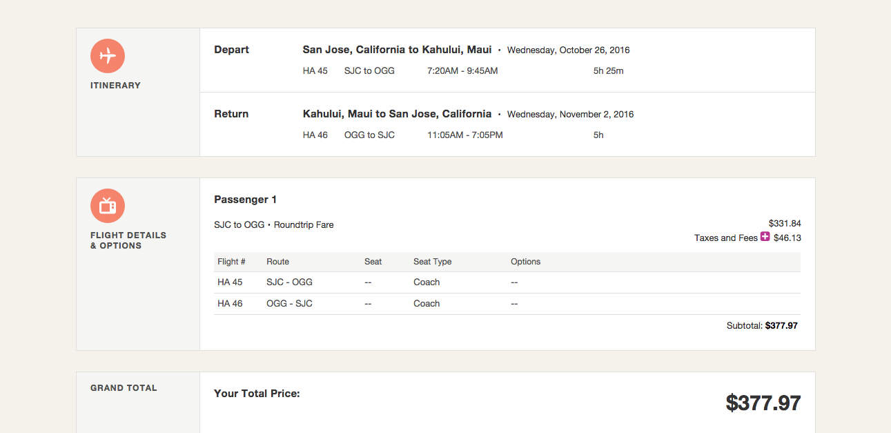 $378 round-trip flights to Maui from San Jose.