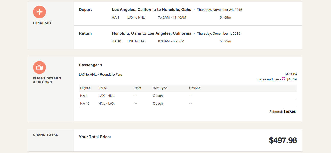 Los Angeles (LAX) to Honolulu (HNL) for $498 round-trip