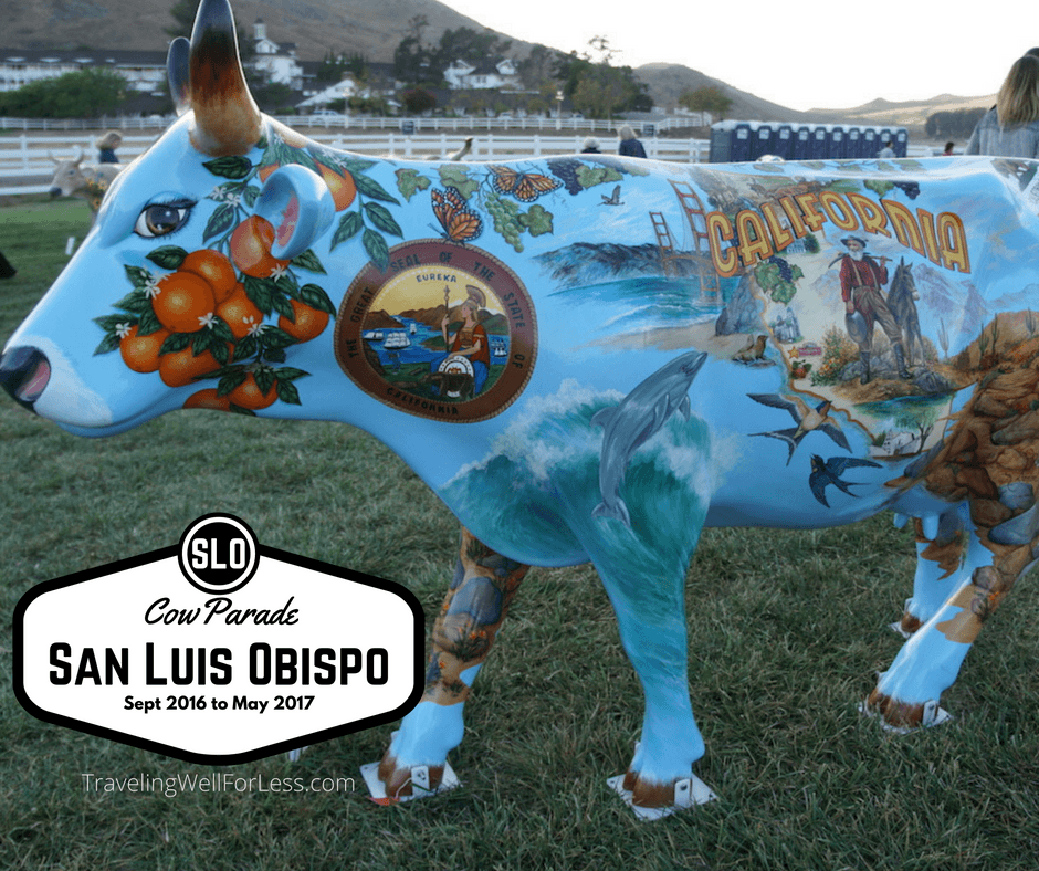 CowParade, 4-H for the art scene. Fiberglass cows painted by artists, celebrities and designers auctioned for charity. CowParade SLO. TravelingWellForLess.com