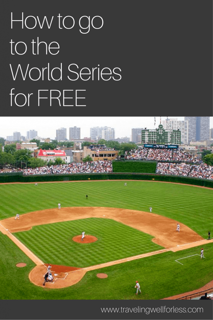 Getting to the World Series can be done on the cheap. Here's the frugal guide on how to go to the World Series for free. http://www.travelingwellforless.com