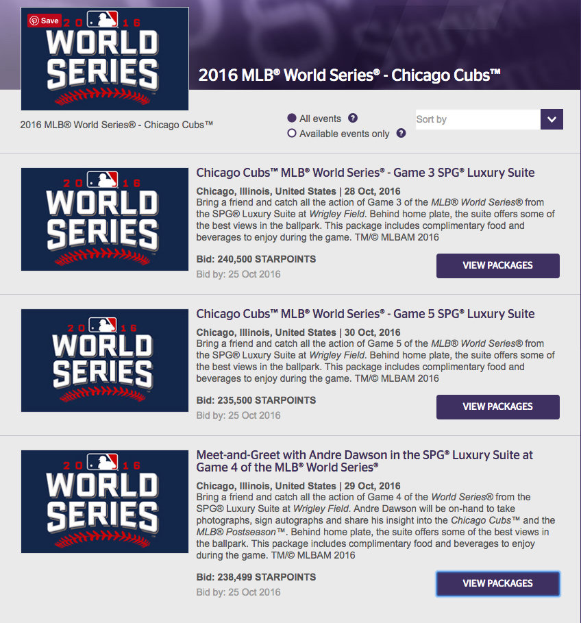 Get free tickets to the World Series, Chicago Cubs vs Cleveland Indians by redeeming Starpoints. http://www.travelingwellforless.com