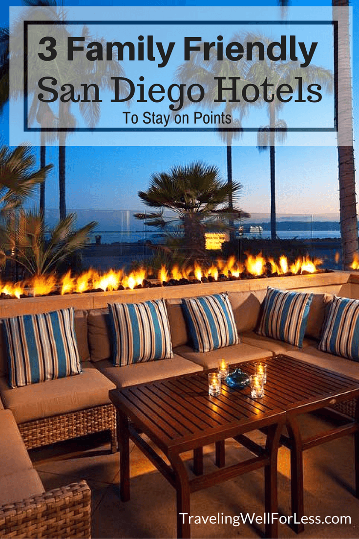 3 family-friendly San Diego hotels where you can stay for free using points. https://www.travelingwellforless.com