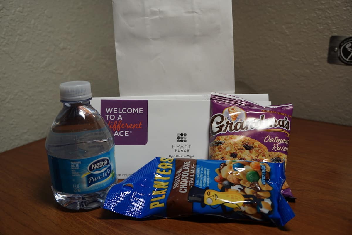 As a Gold Passport or World of Hyatt member, you might be a welcome goodie bag. | Hyatt Place Las Vegas review | Traveling Well For Less | The Hyatt Place Las Vegas is the best hotel because you get free breakfast, Wi-Fi, parking, airport shuttle, and more
