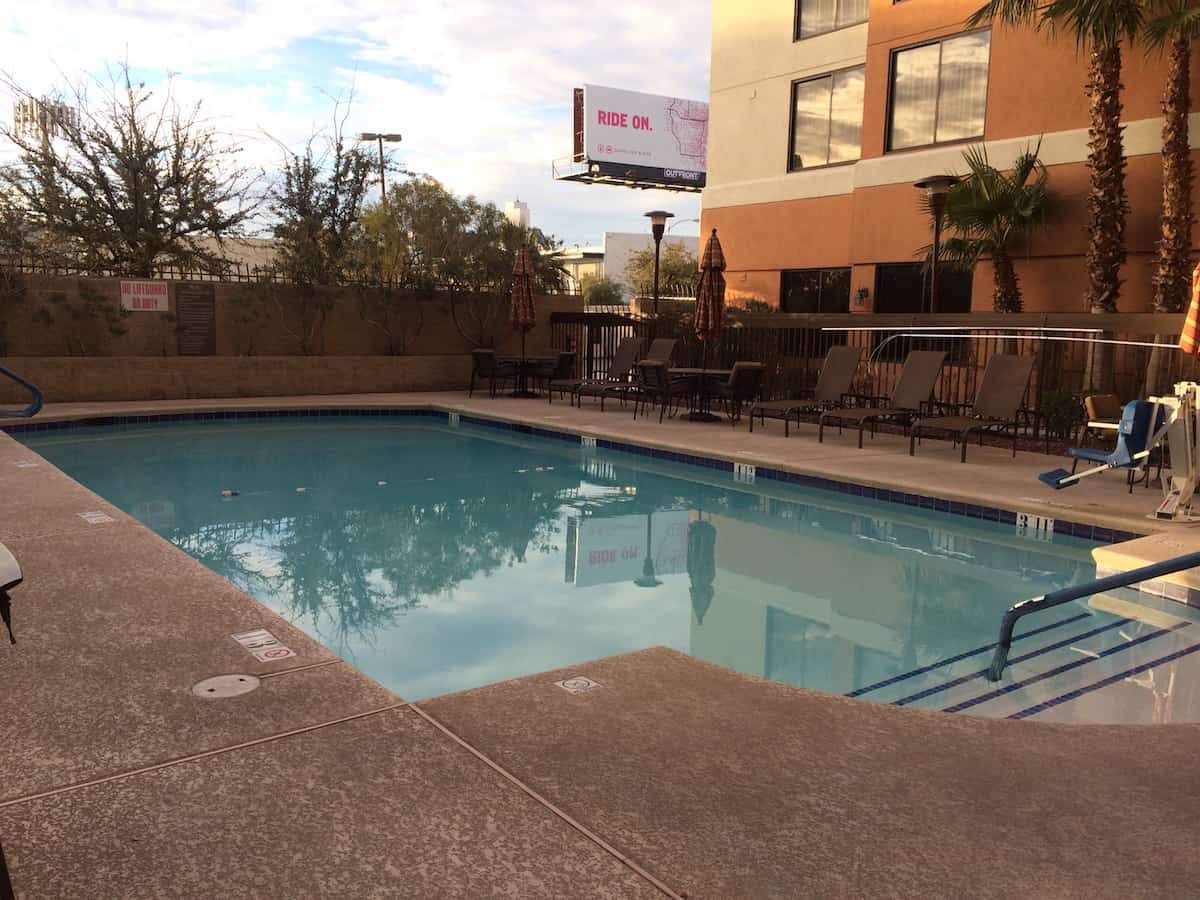 You can swim in pool at the Hyatt Place Las Vegas all year. Traveling Well For Less | Hyatt Place Las Vegas review | The Hyatt Place Las Vegas is the best hotel because you get free breakfast, Wi-Fi, parking, airport shuttle, and more