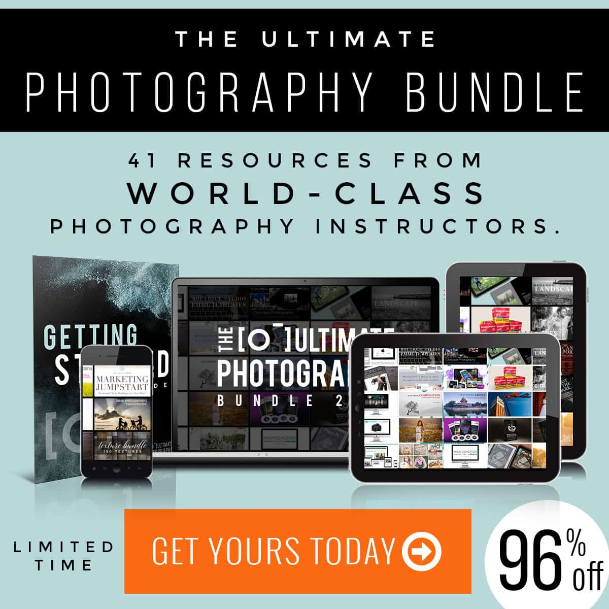 Improve your photos. Get shared on Instagram and Facebook. Learn from the best with the Ultimate Photography Bundle. Traveling Well For Less