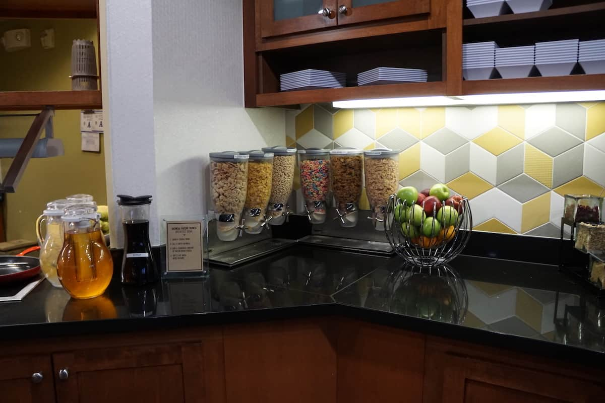 Six different types of cereal for breakfast at Hyatt Place Las Vegas. Traveling Well For Less | Hyatt Place Las Vegas review | The Hyatt Place Las Vegas is the best hotel because you get free breakfast, Wi-Fi, parking, airport shuttle, and more