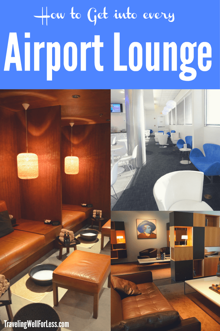 Airport lounge access is usually reserved to those who buy expensive tickets like First Class and Business Class. Or who have an airline lounge membership. But with these easy tips and tricks, you can get into every airport lounge, even if you're flying coach or on using airline miles. | airport lounge | how to get airport lounge access | travel hacks | TravelingWellForLess.com