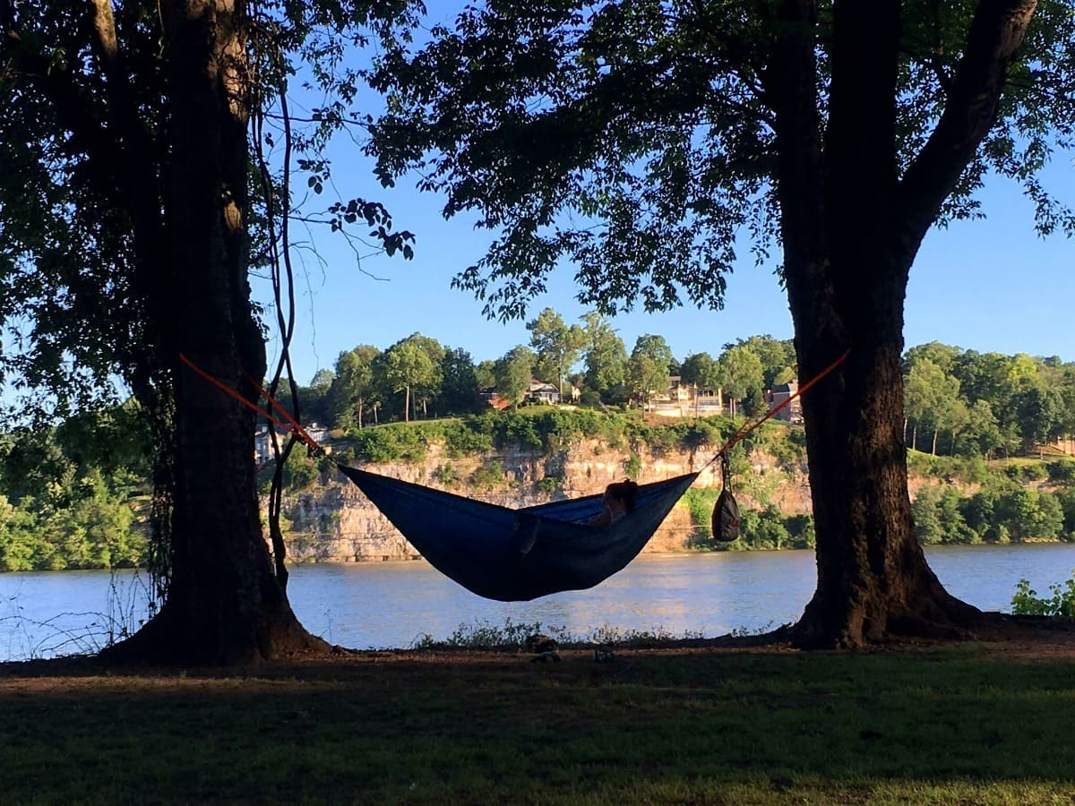 Joe Wheeler State Park is a popular spot for hammock camping. With an abundance of trees, perfectly spaced apart, hammocks dot the landscape. | 25 reasons to visit Florence, Alabama. | Photo courtesy of Miles Knowles, RockstarDiplomat.com | TravelingWellForLess.com