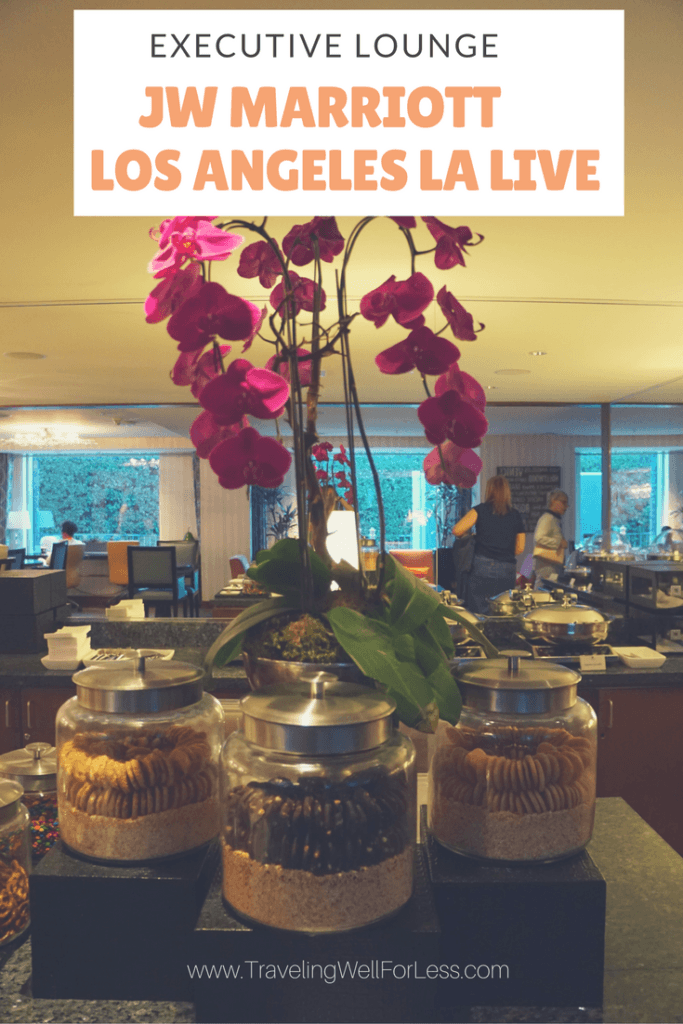 You get free breakfast, appetizers, and snacks when you have access to the JW Marriott Los Angeles LA Executive Lounge. Click this pin to learn how to get into the lounge https://www.travelingwellforless.com/review-jw-marriott-los-angeles-la-live-executive-lounge