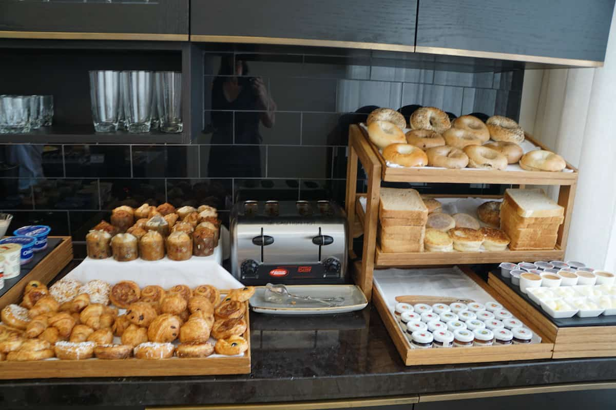 Love carbs? The free breakfast at the Fairmont Washington DC Gold Lounge includes pastries, muffins, bagels, and several types of bread. | Fairmont Washington DC | Fairmont Gold | luxury hotel | where to stay in Washington DC | TravelingWellForLess.com