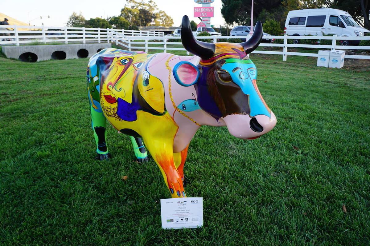 Picowso at CowParade SLO. TravelingWellForLess.com