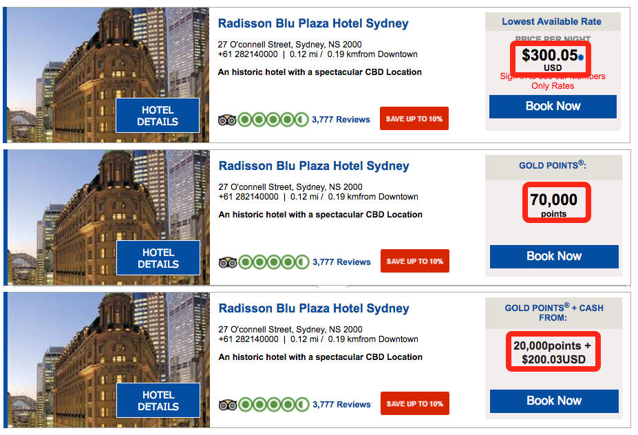 Comparing a paid stay or using points at the Radisson Sydney.