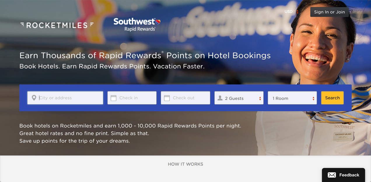 Get 1,000 to 10,000 points per night when you book hotels through Rocketmiles. | how to earn Southwest points without flying | travel hacking | miles and points | TravelingWellForLess.com
