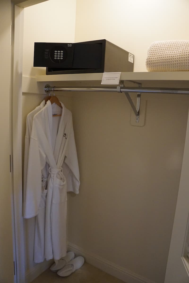 If you decide to putter around in your room, comfortable robes and slippers await in the closet. A laptop sized safe stores your electronics and other valuable items. | Santa Barbara | Where to stay in Santa Barbara | Santa Barbara beachfront hotel | California | American Riveria | www.TravelingWellForLess.com