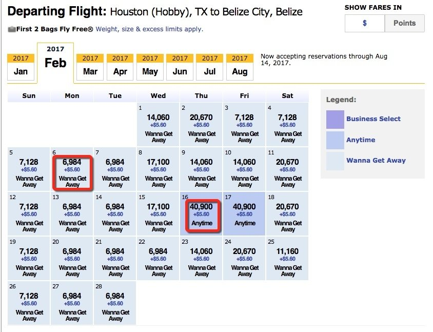 Anytime flights cost more Southwest points than Wanna Getaways flights.