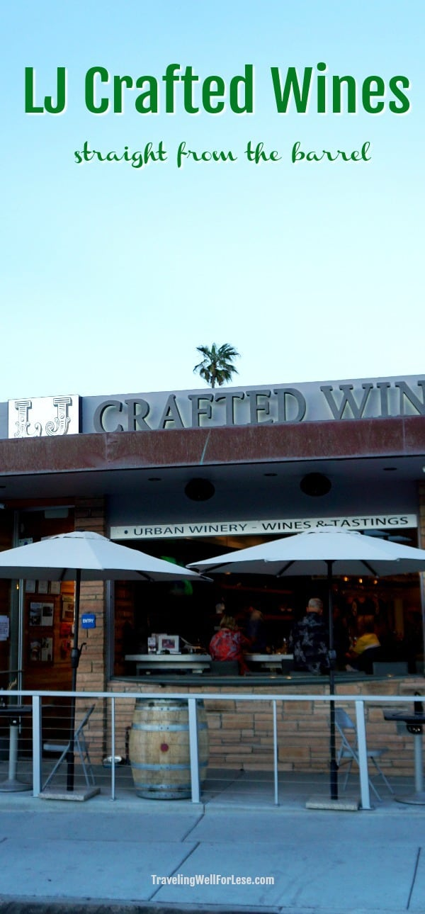 You'll find LJ Crafted Wines tucked away in Bird Rock. Enjoy fine wines in a vineless setting on La Jolla Avenue, away from the crowds and steps from Bird Rock Coffee Roasters. | San Diego wineries | What to do in San Diego | www.travelingwellforless.com #SanDiego #LJCraftedWines #wine #urbanwinery #winetasting #lajolla #california