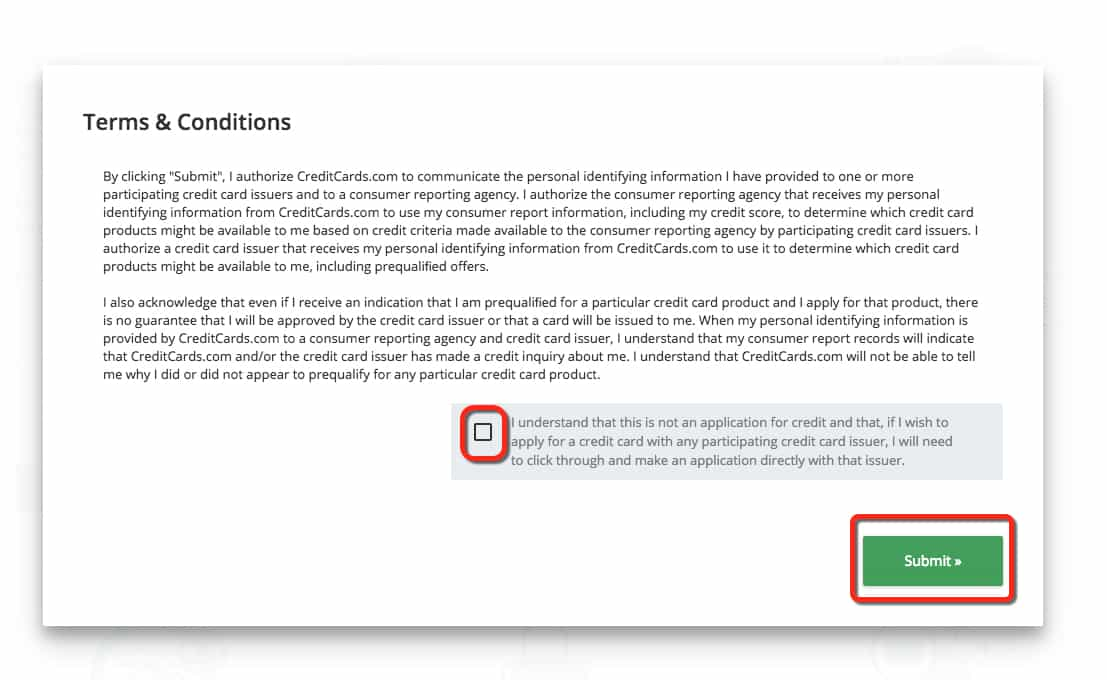 You have to agree to terms and conditions to use the CardMatch tool credit card finder. Traveling Well For Less