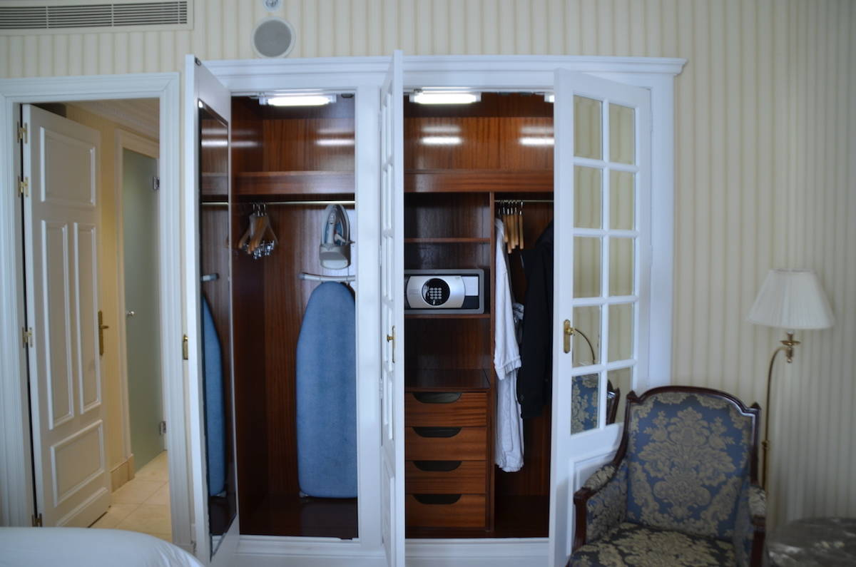 The closet in the junior suite was the same size as the closet in the deluxe room. But where the deluxe room closets are free standing, the junior suite closet is built-in. The closet doors are fancier and framed with mirrors. TravelingWellForLess.com