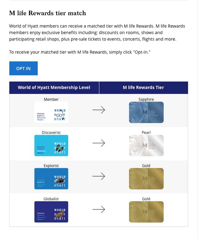 You can get exclusive benefits at M life hotels if you're a World of Hyatt member. Elite status is not required. Here's how to connect your World of Hyatt account to M life.