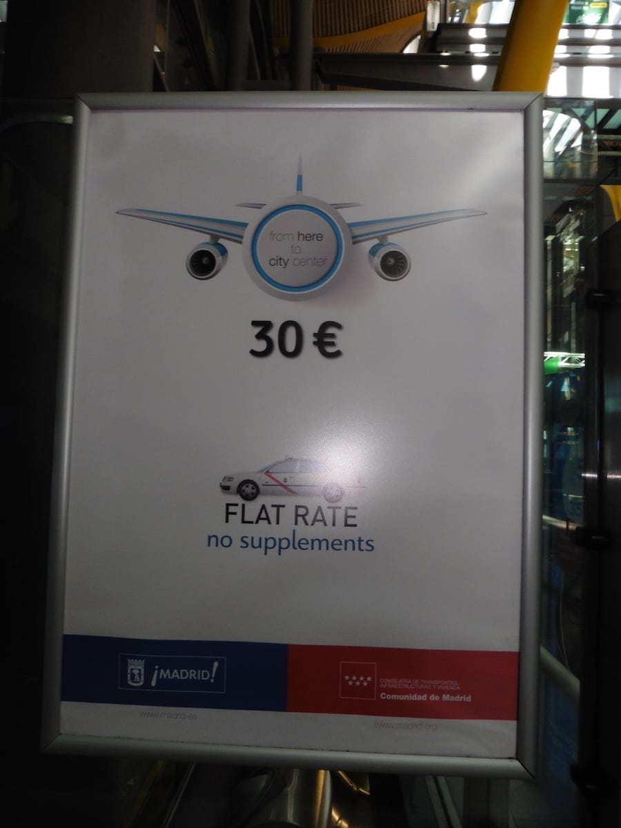 30 euro flat rate for a taxi from the Madrid airport to the city. TravelingWellForLess.com