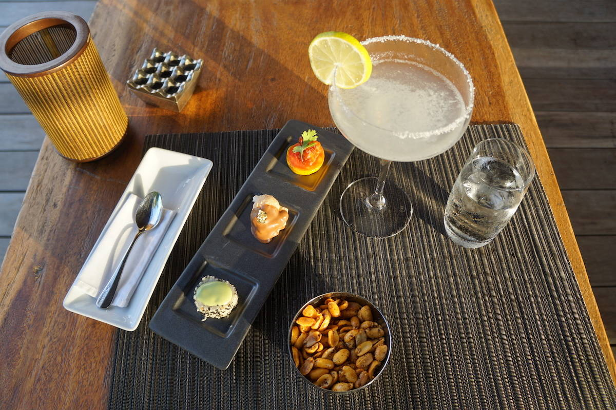 Free drink and canapes nightly Globalist perk at Park Hyatt Maldives. TravelingWellForLess.com
