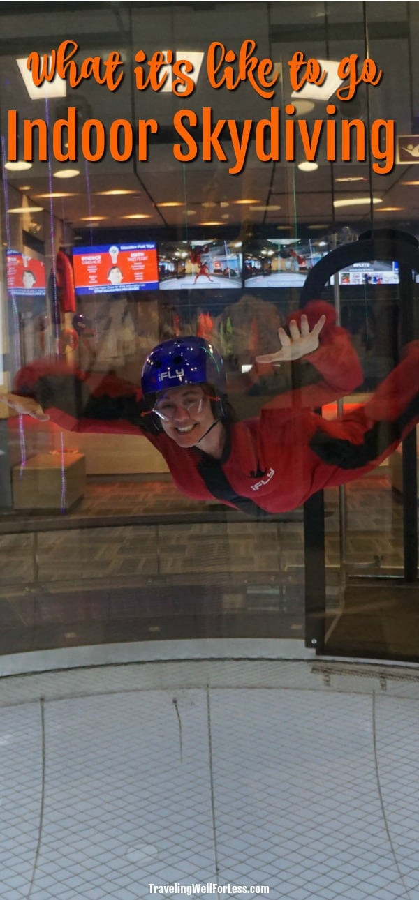 At iFLY Portland Indoor Skydiving (or any of their locations, you can try skydiving without the risk. No jumping or plane required. All you need is a willing attitude. And I was willing. Click through to find out what it's like to go indoor skydiving. | iFly Portland Indoor Skydiving | https://www.travelingwellforless.com