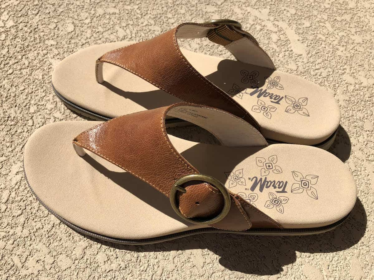 Tara M. Jewel sandal is the perfect warm weather sandal. Wear with dresses, skirts, even shorts. They are so cute and comfortable. You can walk in them for miles on a variety of surfaces from paved roads, cobblestone streets, to sandy beaches. travel gifts for Mother's Day   https://www.travelingwellforless.com #travelgifts #mothersdaygifts
