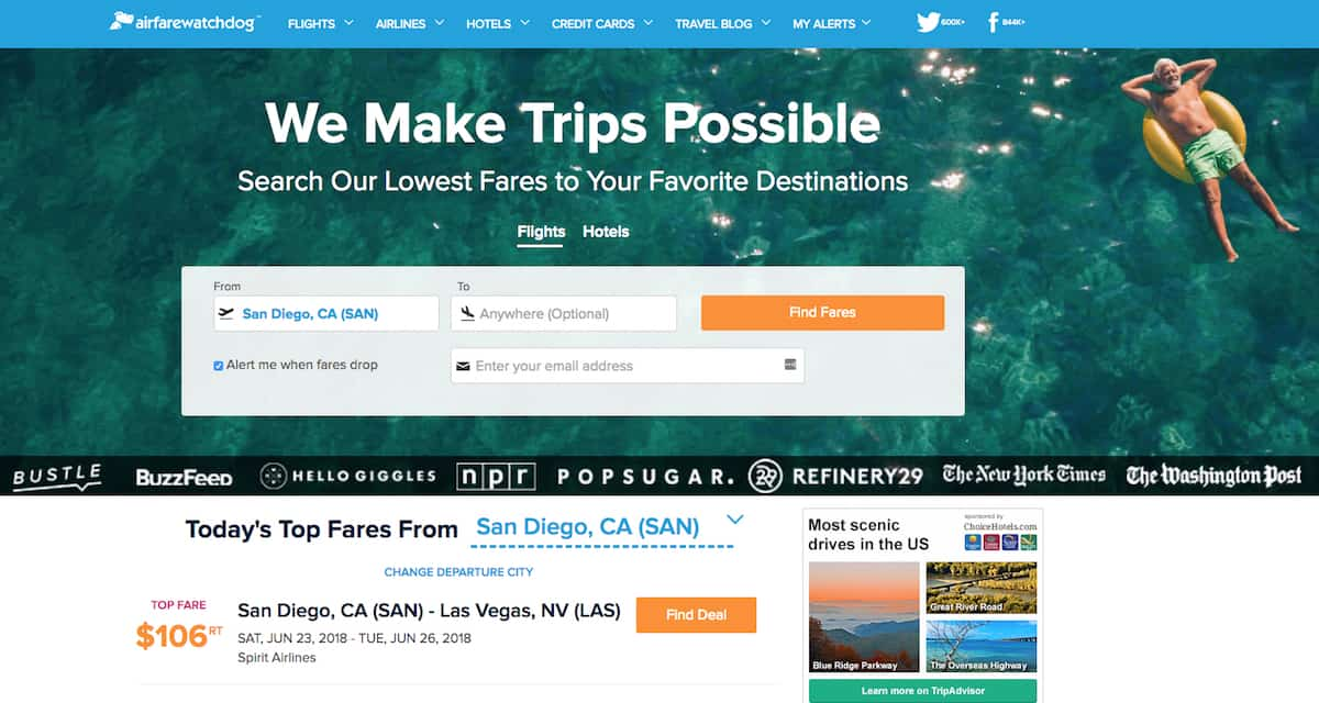 Airfare Watchdog uses real-time data to find you the lowest price on airline tickets.