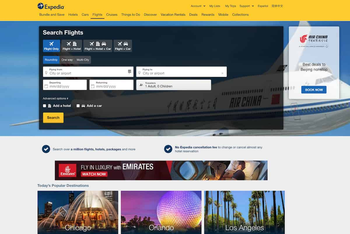 Searching for cheap airline tickets is quick on Expedia.