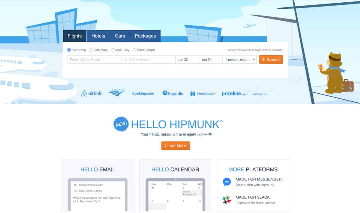 Hipmunk is a straightforward way to search for airline tickets.