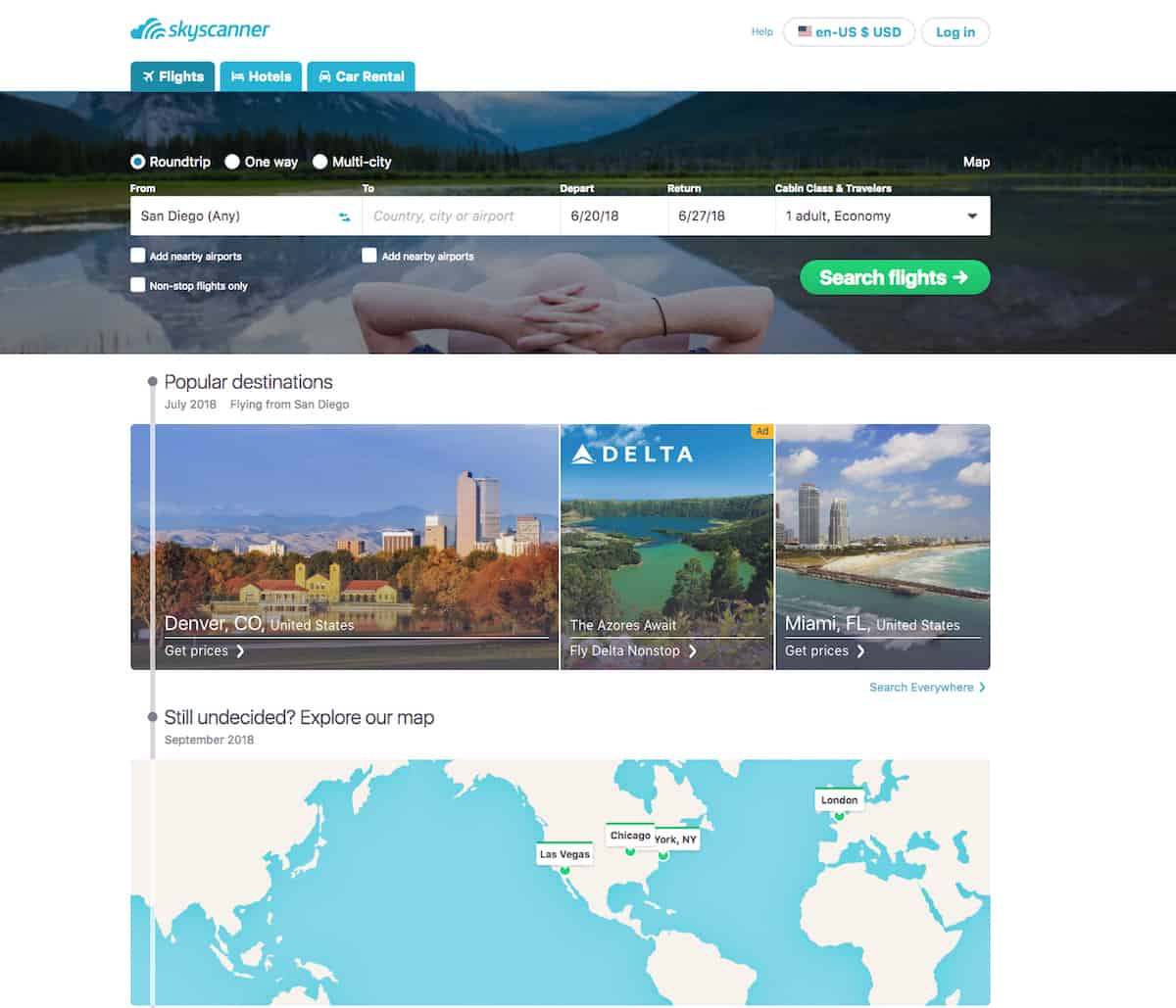 The SkyScanner website lets you search for the lowest priced airline tickets.