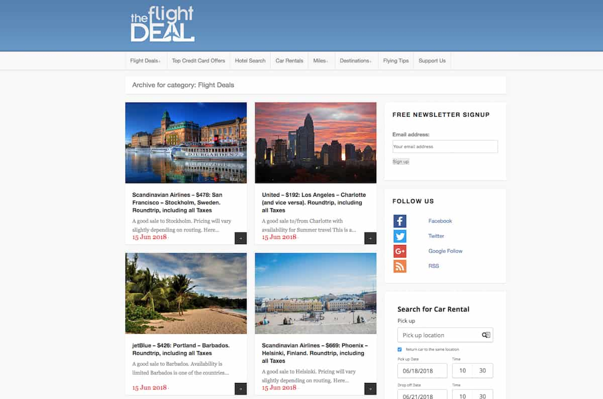 If you're an impulse buyer, you'll love the Flight Deal. The team at the Flight Deal writes code to scrape airline sites and find interesting airline ticket deals.