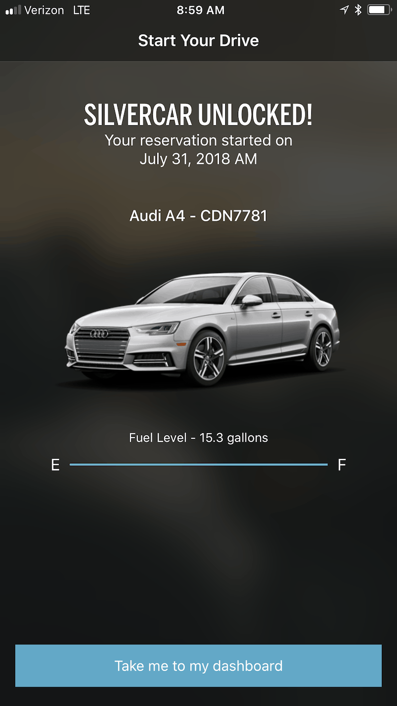 "After unlocked, a new message shows SILVERCAR UNLOCKED! Then click ""Take me to my dashboard."""