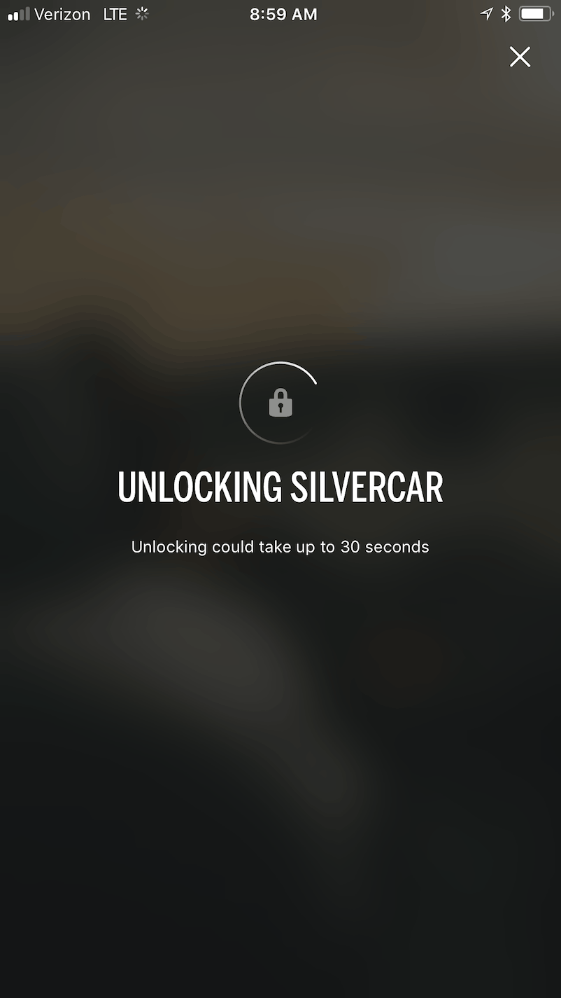 Once you agree, the screen shows an UNLOCKING SILVERCAR message.