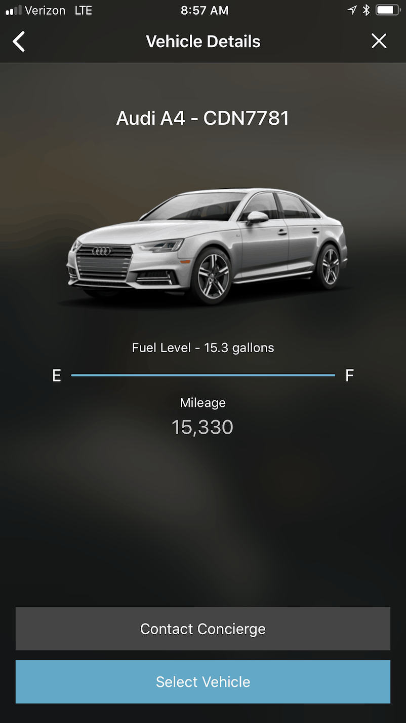 Once scanned it shows your vehicle details: plate, fuel level, and mileage.
