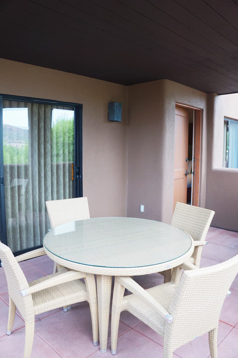 You can access the balcony from the living room via sliding glass door and a door in the bedroom.