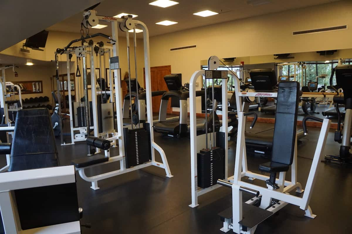 The fitness center, in the activity center, is open and free to use from 7 am to 10 pm.
