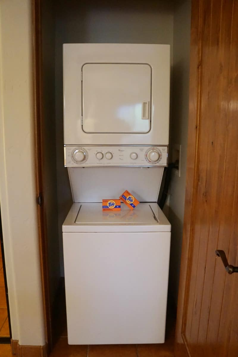 A full sized washer and dryer and two boxes of Tide means you can go home with clean clothes.
