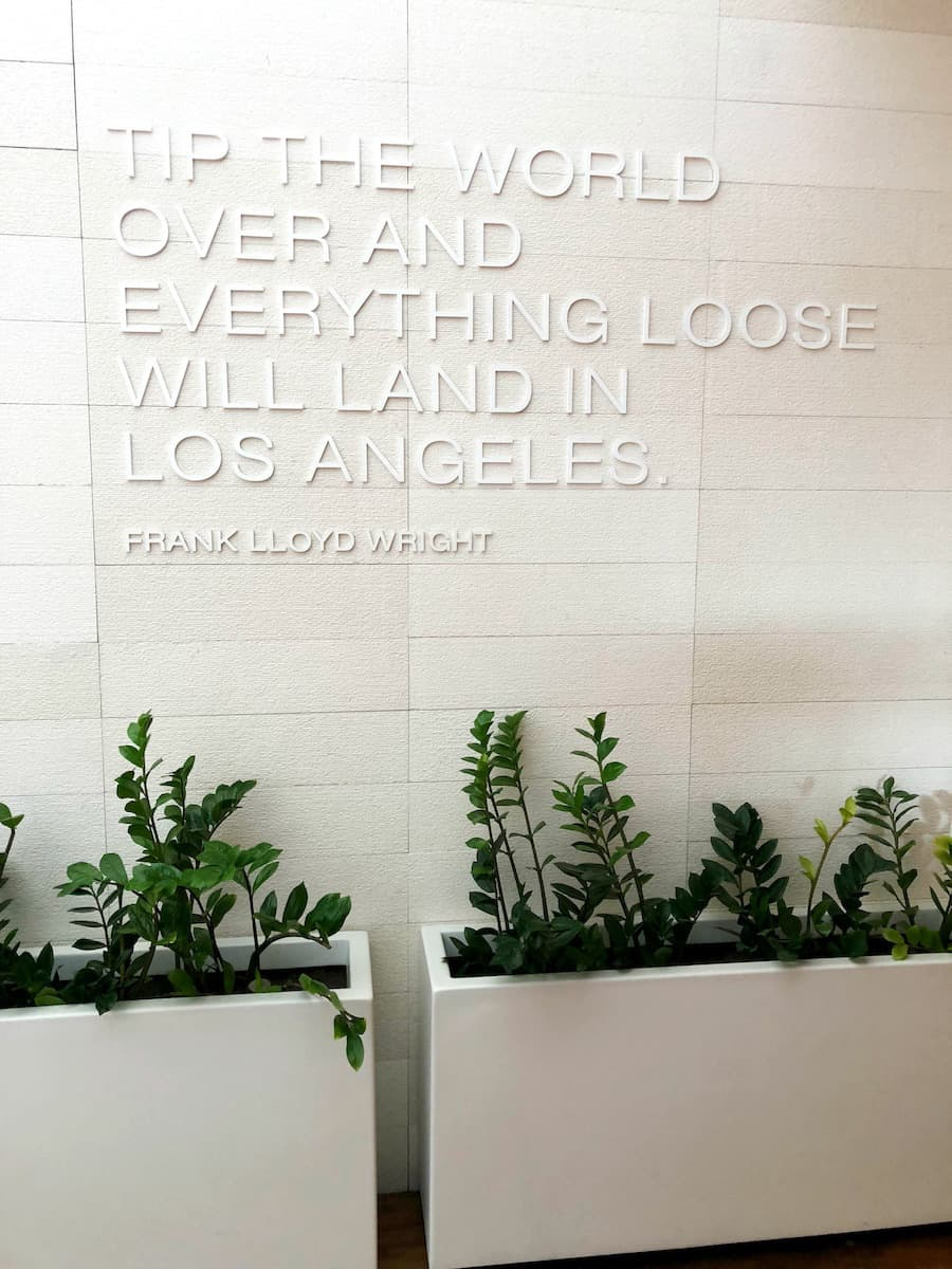 Frank Lloyd Wright Quote on outside wall at Star Alliance Business Class Lounge LAX