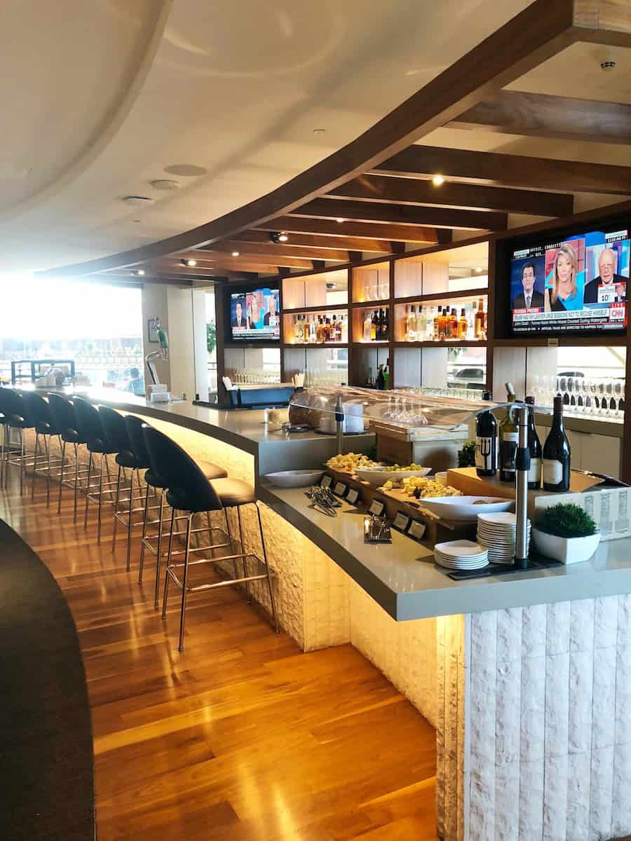 Bar and cheese and wine station at Star Alliance Business Class Lounge LAX