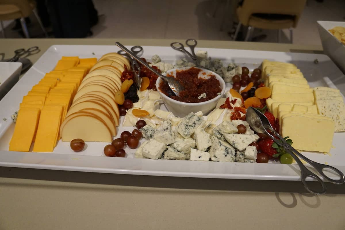 Assortment of cheeses at Star Alliance Business Class lounge LAX