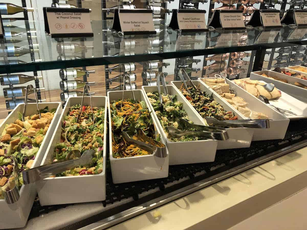 various salads, wraps, and chips Star Alliance Business Class Lounge LAX