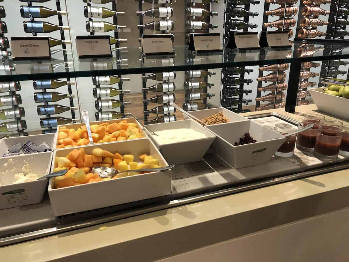 Fruit, eggs, yogurt, granola, and smoothies Star Alliance Business Class Lounge LAX