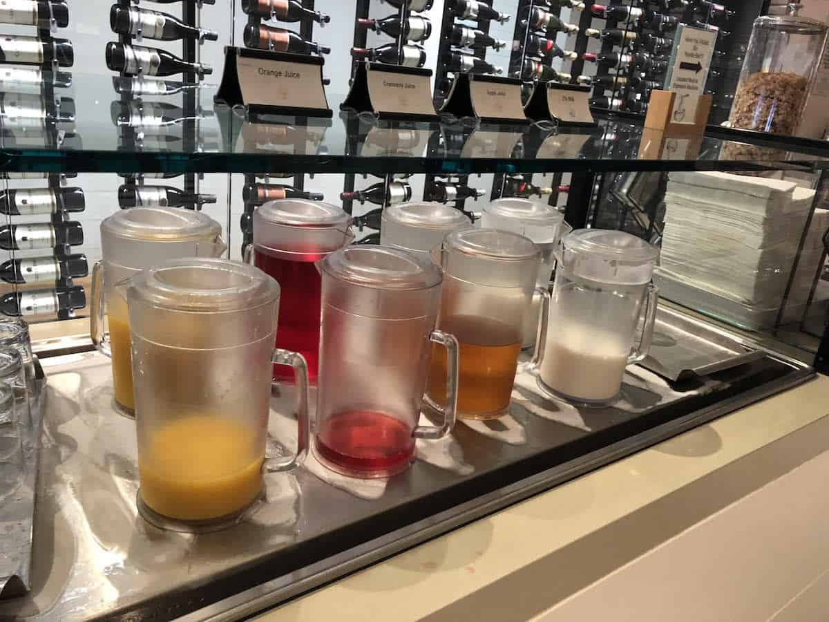 Various juices and milks Star Alliance Business Class Lounge LAX morning buffet juices