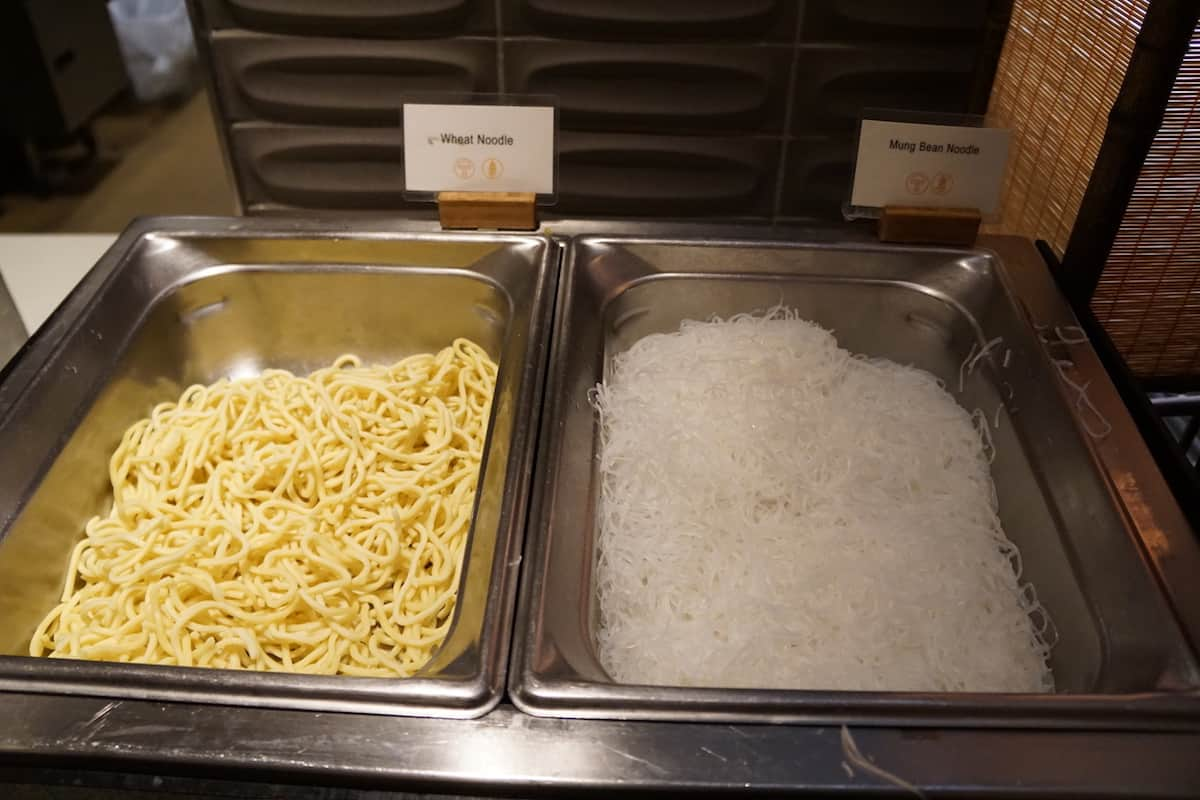 Selections of noodles at noodle bar Star Alliance Business Class Lounge LAX
