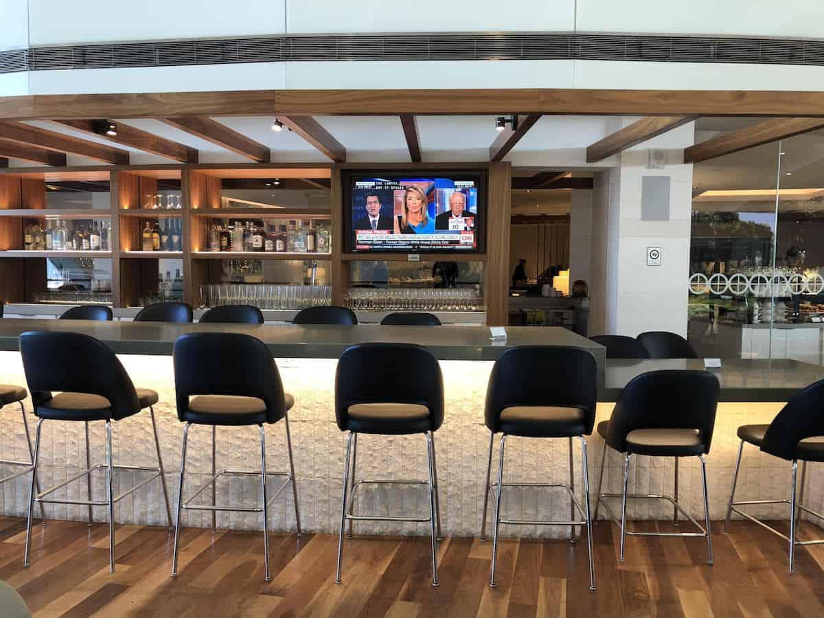 bar overlooking atrium Star Alliance Business Class Lounge LAX