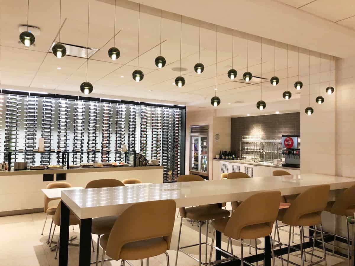 Counter style seating overlooking buffet Star Alliance Business Class Lounge LAX